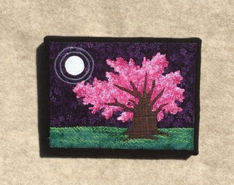 Cherry Tree in the Moonlight, 6x8 inches, original sewn fabric artwork, handmade, freehand appliqué, ready to hang canvas
