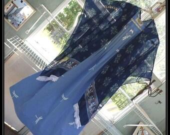 Free Domestic Shipping-CASEY-One size,Chiffon,Boho Robe,Shawl,Boho Kimono,Bed Jacket, 3/4 length sleeve,floral print.Nightgown not included.