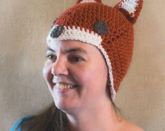 Crochet Fox Hat -Newborn To Adult Sizes - Beanie - Baby Fox Hat -  Winter Hat - Newborn To Adult Sizes - Made To Order - Photo Prop