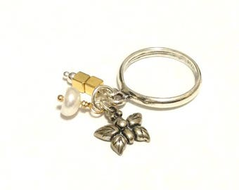 Baubling Beads Sterling Silver Dangle Charm Ring - Butterfly