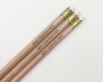 Best teacher ever engraved pencils in natural wood . Multiple quantities available. Make a teacher's day.