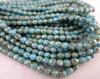 3mm Turquoise Picasso Glass Beads, Faceted Fire Polished  Czech Glass, Strand of 50