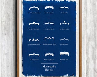 Typography Moustaches A4 Hand coated traditionally made cyanotype blueprint