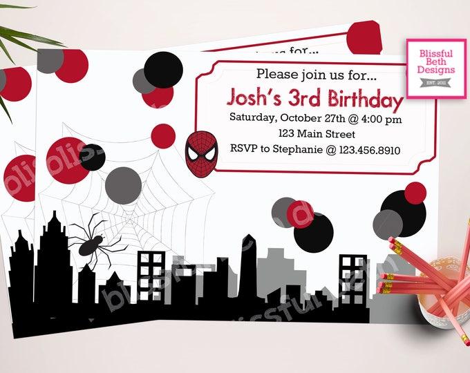 PERSONALIZED SPIDERMAN INVITATIONS Spiderman Birthday Invitations, Printable Spiderman Invitation, Spiderman Invite, Spiderman Invitation