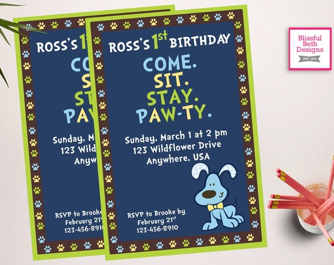 BIRTHDAY PAWTY INVITATION Blue and Green Printable Birthday Invitation, Puppy Pawty Birthday Invite,  Puppy Birthday Invitation