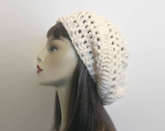 Slouchy Crochet Beanie Hat Slouch Beanie Off White Slouch Hat  Beige Knit  Cream Hat  Ivory Beret  Cream Slouchy Hat Cream Slouch Tam