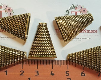 6 pcs per pack of 22x18x8mm solid Flat Oval Cone Antique Gold Lead Free Pewter