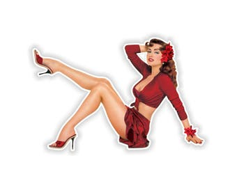 Pin Up Girl Sticker Vintage Sexy #08 - 8x12cm  (3.1 x 4.7inches) for Laptop Tablet Helmet Motorcycle Bumper