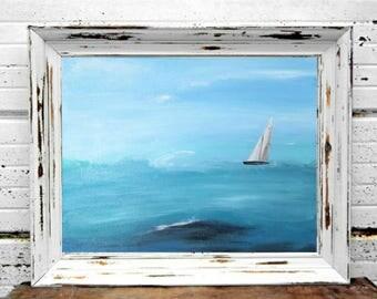 Sailboat painting original ocean scene wall art