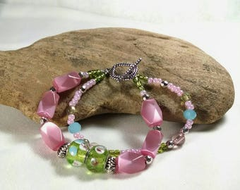 Pink Bracelet, Green and Pink Bracelet,. Pastel Glass Beaded Bracelet, Two Strand Bracelet, Summer, Birthday Gift