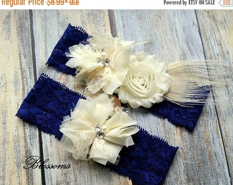 SALE NAVY IVORY Bridal Garter Set - Keepsake & Toss Garters - Flower and Feather Lace Garters - Blue Lace Garter Set - Wedding Garter - Gard