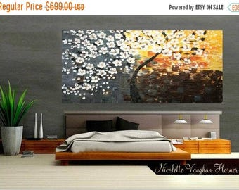 "SALE 60"" Huge Abstract landscape  Original Modern palette knife Cherry Blossom Tree ""Sunkissed""impasto oil painting by Nicolette Vaughan Hor"