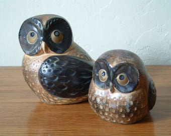 Vintage Otagiri Owl Figurines Ceramic Set of 2 Owls Japan OMC Mother And Baby Owl