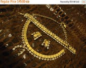 ON SALE Vintage Full Parure Rhinestone Necklace Bracelet Earring Set 1950's Collectible Jewelry Rockabilly Mod Old Hollywood Glam
