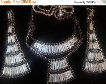 On Sale Vintage Rhinestone Necklace Earring 1950's Set Black White Demi Parure Collectible Jewelry Hollywood Regency Retro Rockabilly Access