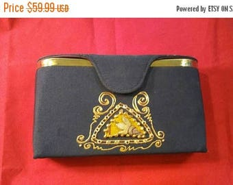 On Sale Black High End Collectible Clutch Purse - 1960's Rhinestone Beaded Handbag - Old Hollywood Glamour Style Bag - Black Tie Formal