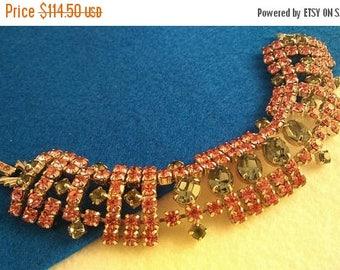 On Sale Pink & Blue Vintage Rhinestone Bracelet Chunky Wide - 1950's 1960's Retro Rockabilly Vintage Jewelry Collectible