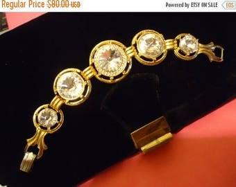 On Sale Vintage Couture Sparkling Clear Rivoli Crystal Rhinestone Bracelet Huge Headlight Stones Mad Men Mod Black Tie Formal Glamour Girl J