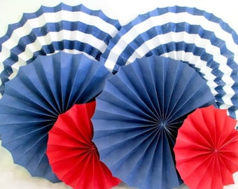 Hanging Fans Nautical Decorations 4th of July Paper Fans Rosettes Pinwheels Red White Blue Table Backdrop Beach Decor Photo Background