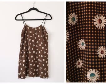 Daisy Gingham Cami Dress Shred Threads 90's Inspired Made to Order from Dead-stock fabric Small