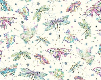 20% off thru 2/22 MARIPOSA -by the half yard by QT fabrics- tossed butterflies Dragon flies on off white-25912-E multicolor aqua purple pink