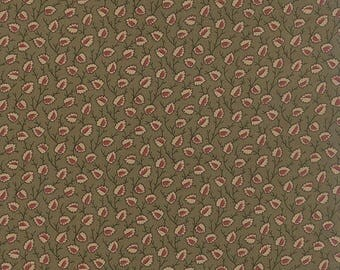 20% off thru 2/22 OLD CAMBRIDGE PIKE Moda fabric by the half yard 100 Percent quilt weight cotton Civil War tan red leaves on green 8322-12