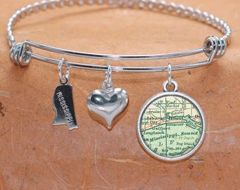 Biloxi MS Map Charm Bracelet State of Mississippi Bangle Cuff Bracelet Vintage Map Jewelry Stainless Steel Bracelet Gifts For Her