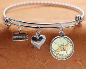 Erie PA Map Charm Bracelet State of Pennsylvania Bangle Cuff Bracelet Vintage Map Jewelry Stainless Steel Bracelet