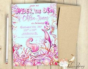 Mermaid Invitation Pool Party Birthday Invitation Fantasy Seahorse Shells Turtle Fairytale Under the Sea PRINTABLE First Birthday Invitation