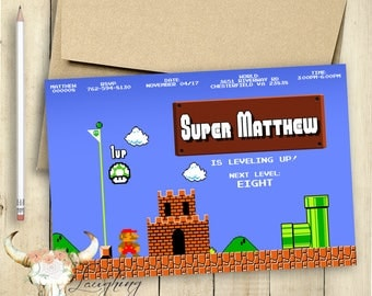 Mario Invitation Mario Brothers Luigi Super Mario Original Nintendo Printable Personalized Customized Birthday Invitation Gamer Video Games