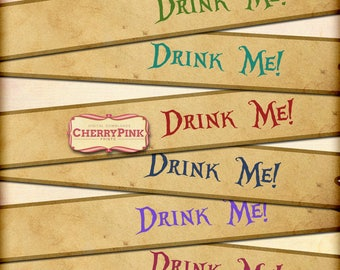 ALICE STRAW FLAGS, alice in wonderland Drink me straw flags, Sepia digital wonderland decorations, great for weddings!