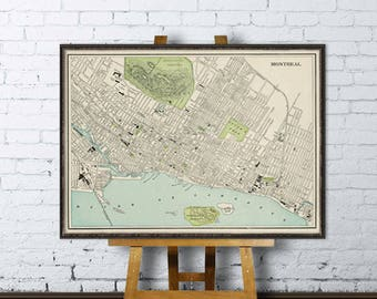 Antique Montreal map  - Archival fine print - Map of Montreal
