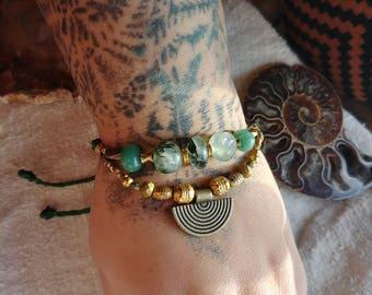prehnite bracelet - aventurine beads - anahata crystal