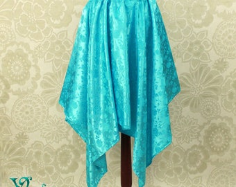 "Steampunk Fairy Turquoise Rose Brocade Pointed Petal Skirt -- 4 Points, 36"" Point Length -- Fits up to 38"" Waist, Ready to Ship!"