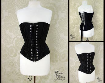 Steampunk Renaissance Classic Black Patchwork Steel Boned Corset - You Choose Your Corset Style - Custom Sized