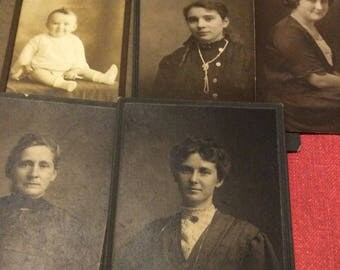 5 cabinet photos for crafting or display pretty Edwardian women