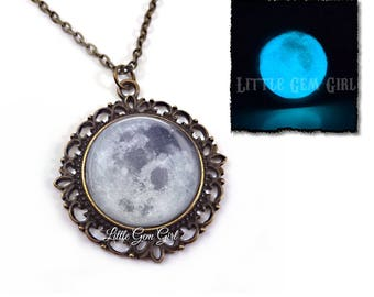 Glow in the Dark Full Moon Necklace in Antique Bronze or Silver Vintage Style Pendant Necklace - Glowing Moon Pendant