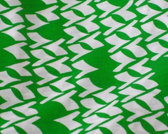 "Vintage Fabric - Geometric - Green & White -  44""W - fabric by the yard - material - textile - sewing supply - Retro"