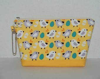 "Large Padded Zipper Pouch/Pencil Case/Cosmetic Case with Pocket Made with Cotton Fabric ""Chicks - Yellow"""
