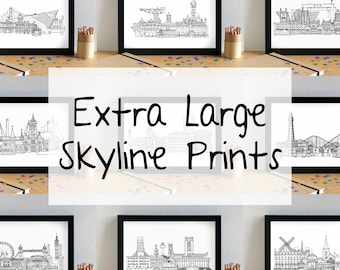 Cityscape Skyline Prints - Extra Large Skyline Art Print - UK City Skyline Art - UK Cityscape Wall Art