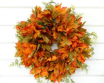 Fall Wreaths-Fall Home Decor-Autumn Door Wreath-Fall Door Wreath-Orange Wreath-Housewarming Wreath-Gift for Mom-Scented Door Wreath-Gifts