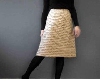 80s Ivory Tan Wool Boucle Pencil Skirt Medium
