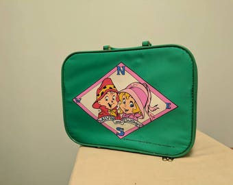 Vintage Green 1990s Alvin and Brittany Chipmunks Suitcase / Luggage / Retro Tote.  Cartoon character memorabilia