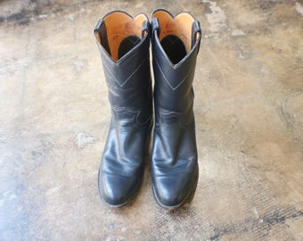 9 Navy Blue Cowboy BOOTS / Vintage Justin Women's Boots / Ropers