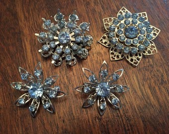 4 Blue Rhinestone Silver Tone Brooch Pin Lot