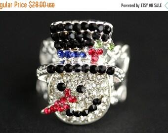EASTER SALE Rhinestone Snowman Ring. Rhinestone Ring. Christmas Ring. Holiday Jewelry. Adjustable Ring. Christmas Jewelry. Silver Ring. Holi