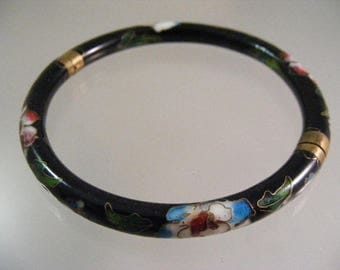 Vintage Chinese Black Cloisonne Hinged Bangle Bracelet.....  Lot 5343