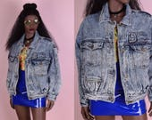 80s Acid Wash Denim Jacket/ Medium-Large/ 1980s/ Jean Jacket