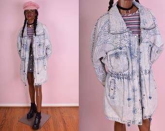 80s Acid Wash Lace Denim Parka/ Large/ 1980s/ Jacket/ Coat/ Floral