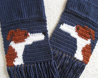 Greyhound dog scarf. Navy blue knit and crochet scarf with red fawn and white greyhounds. Italian greyhound. Whippet dog. Greyhound gift